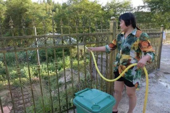 刘伏莲正在为开垦的小菜园浇水