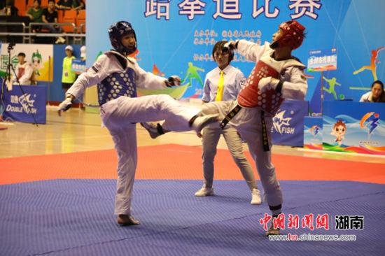 湖南省第十三届运动会跆拳道比赛精彩瞬间。