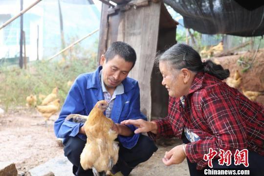杨兴爱向村民指导养殖技术。 杨娟 摄