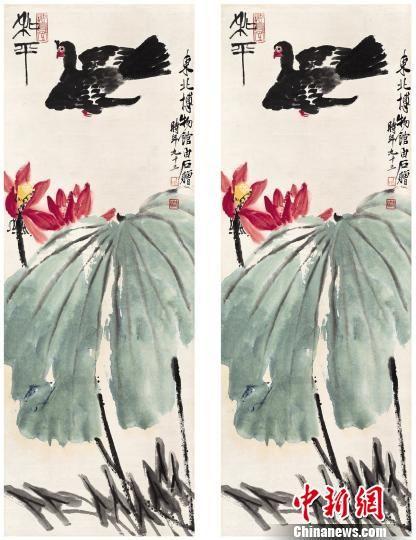 齐白石作品《和平鸽图》。 辽宁省博物馆藏