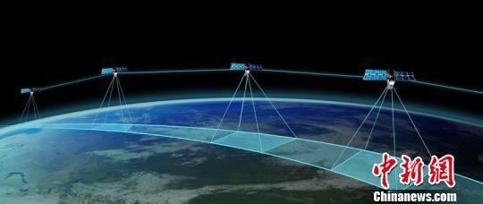 天仪研究院中分辨率遥感星座在轨模拟图。天仪研究院供图