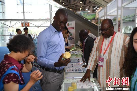 马里《独立者报》记者穆萨・塞勇・卡马拉(左二)在展会现场采访。 杨华峰 摄