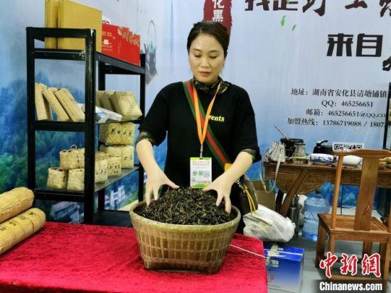 工作人员整理茶叶。 向一鹏 摄