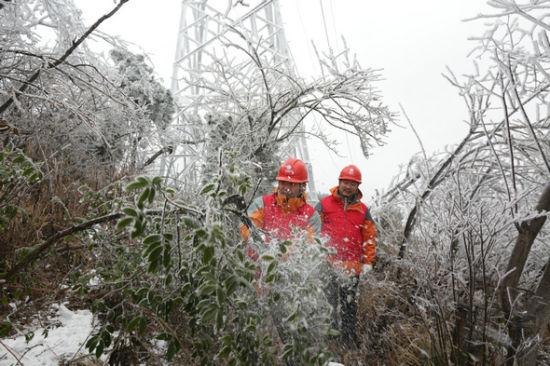 12月23日国网娄底供电公司员工在110千伏岳龙杨线3号塔清理树障。