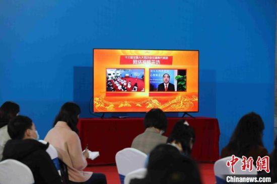 """住湘全国人大代表通过视频连线的形式接受""""云采访""""。湖南广电 供图"""