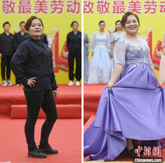 女工人身着工装与礼服亮相T台。(拼接图) 杨华峰 摄