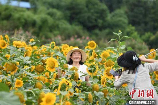 民众在湖南省植物园赏花。 杨华峰 摄