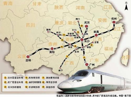 未来5年内,湖南新建与改建铁路线路图.