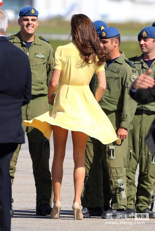 威廉王妃凯特访问加拿大 裙底走光被拍组图
