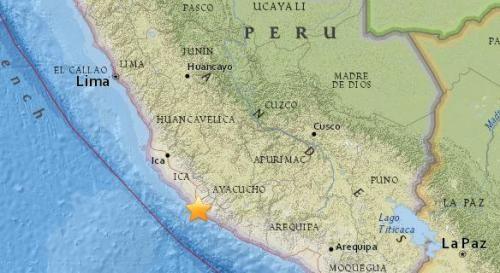 秘鲁西南部沿海地区5.2级地震 震源深度51.7公里