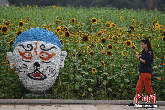 京剧脸谱亮相湖南向日葵主题展 游人花间感国粹